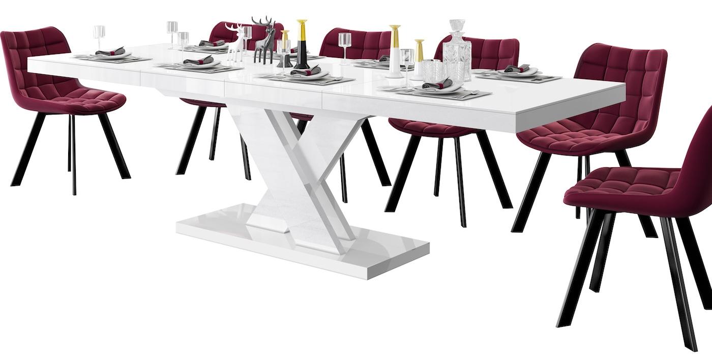 Uitschuifbare eettafel Xenon lux 160 tot 256 cm breed in hoogglans wit