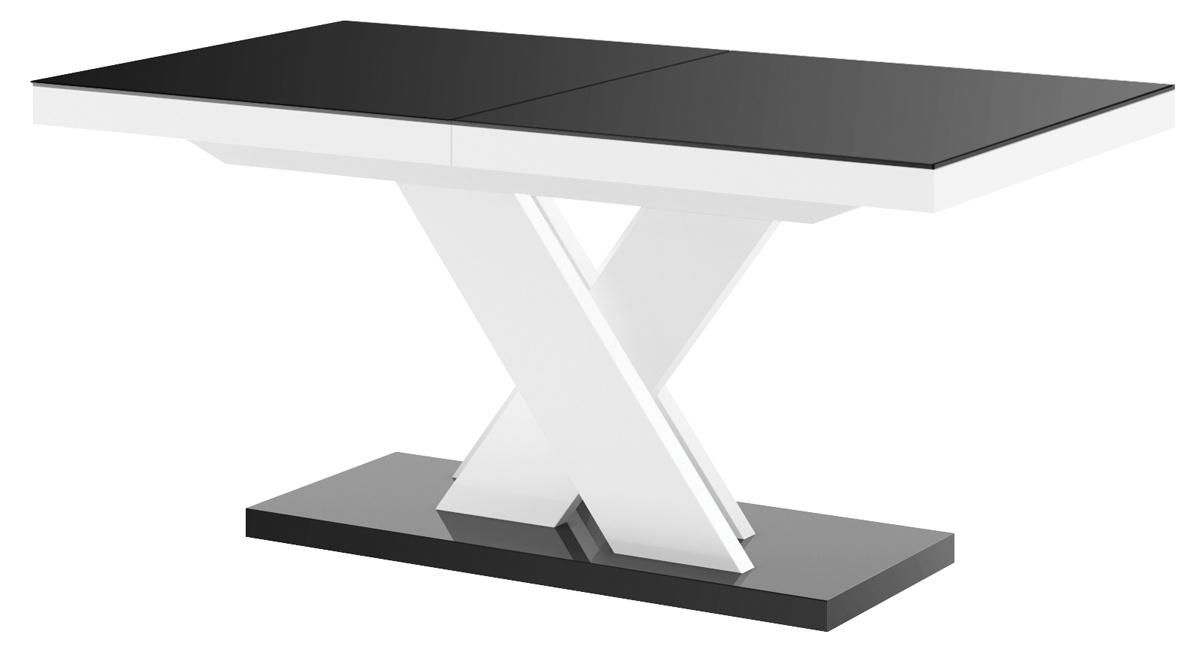 Uitschuifbare eettafel Xenon lux 160 tot 256 cm breed in hoogglans zwart met wit