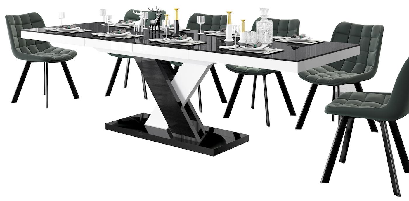 Uitschuifbare eettafel Xenon lux 160 tot 256 cm breed in hoogglans zwart mix wit