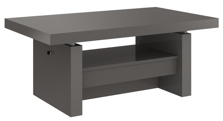 Uitschuifbare salontafel Aversa 120 tot 170 cm breed Hoogglans grijs