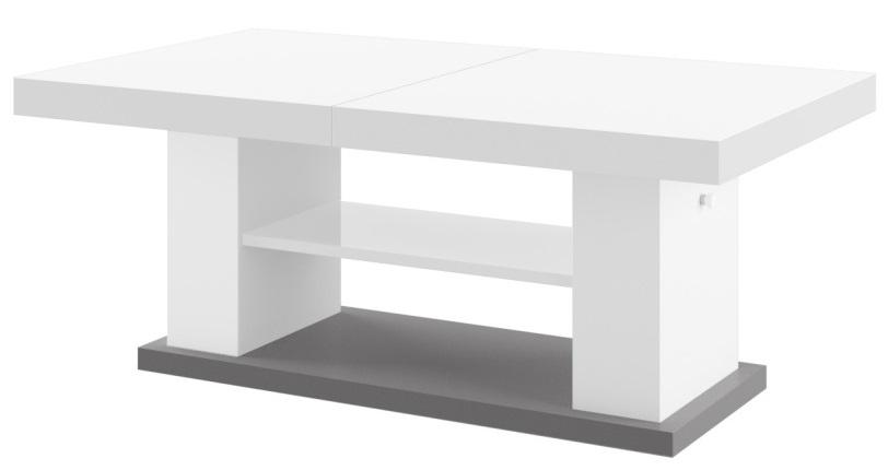 Uitschuifbare salontafel Matera 120 tot 170 cm breed - Hoogglans Wit