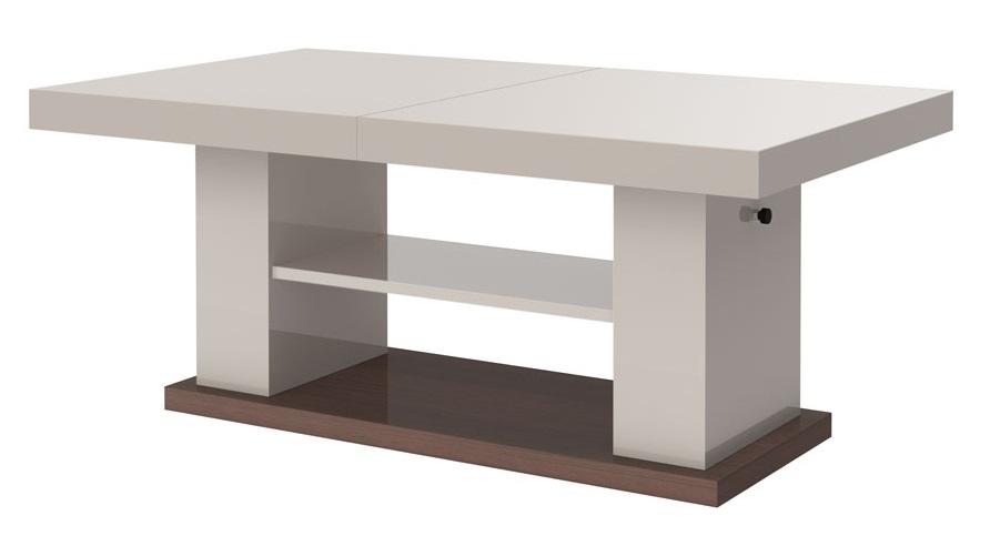 Uitschuifbare salontafel Matera 120 tot 170 cm breed in hoogglans cappuccino