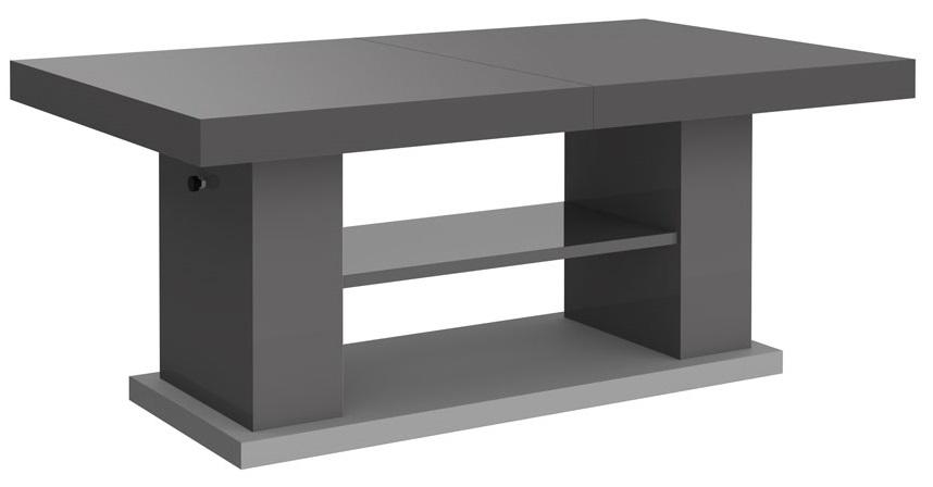 Uitschuifbare salontafel Matera 120 tot 170 cm breed in hoogglans grijs
