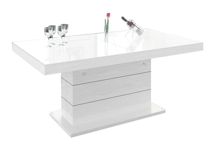 Uitschuifbare salontafel Matera Lux 120 tot 170 cm breed - hoogglans wit