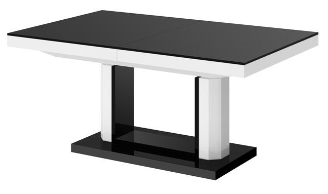 Uitschuifbare salontafel Quadro Lux 120 tot 170 cm breed in hoogglans zwart met wit