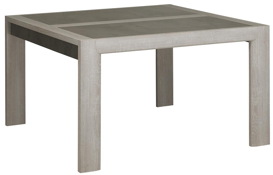 Vierkante eettafel Sandro 130x76x130 cm breed in licht grijs eiken