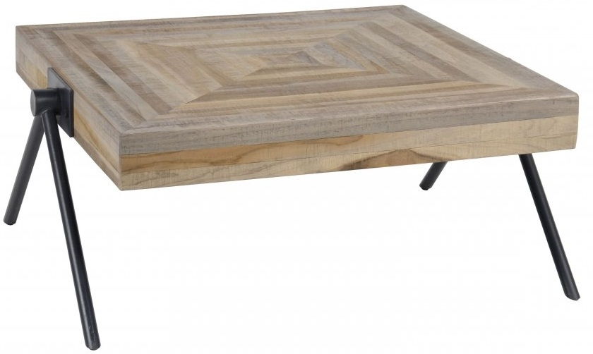 Vierkante salontafel Bella 70x33x70 cm breed - Teakhout verweerd