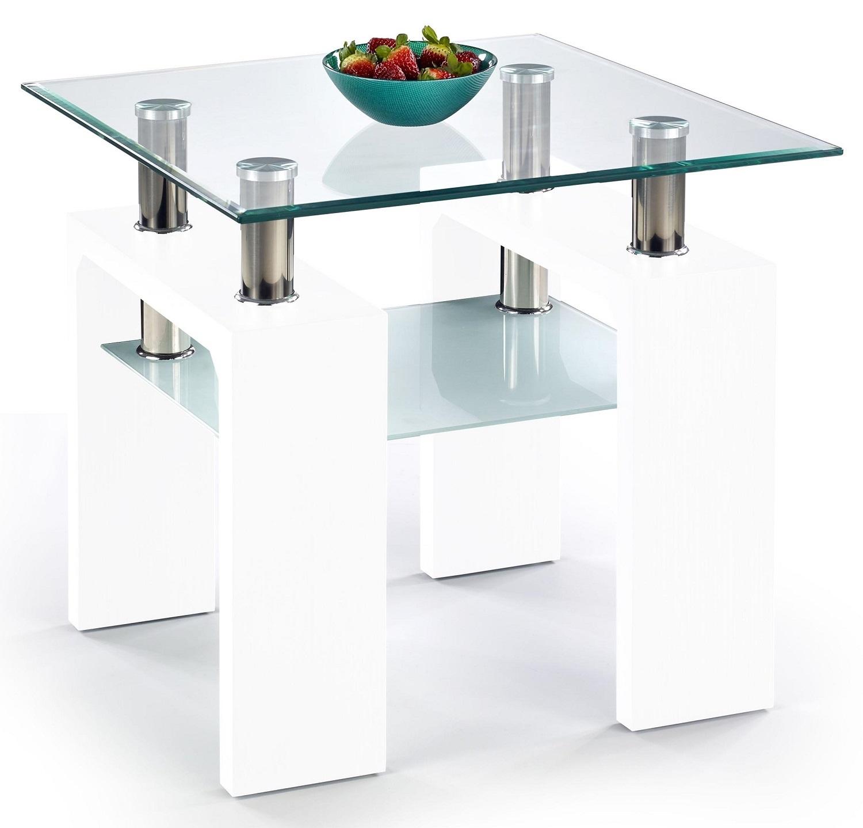 Vierkante salontafel Diana 60x55x60 cm breed in wit