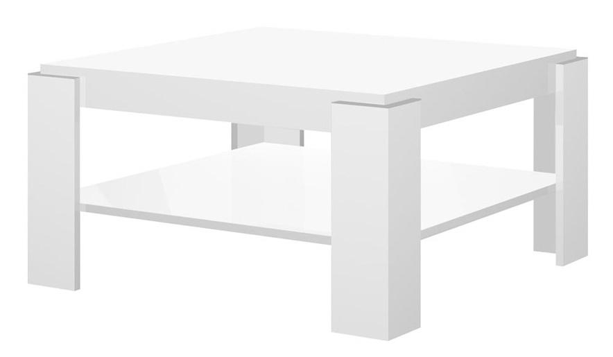 Vierkante salontafel Elba 84x44x84 cm breed hoogglans wit