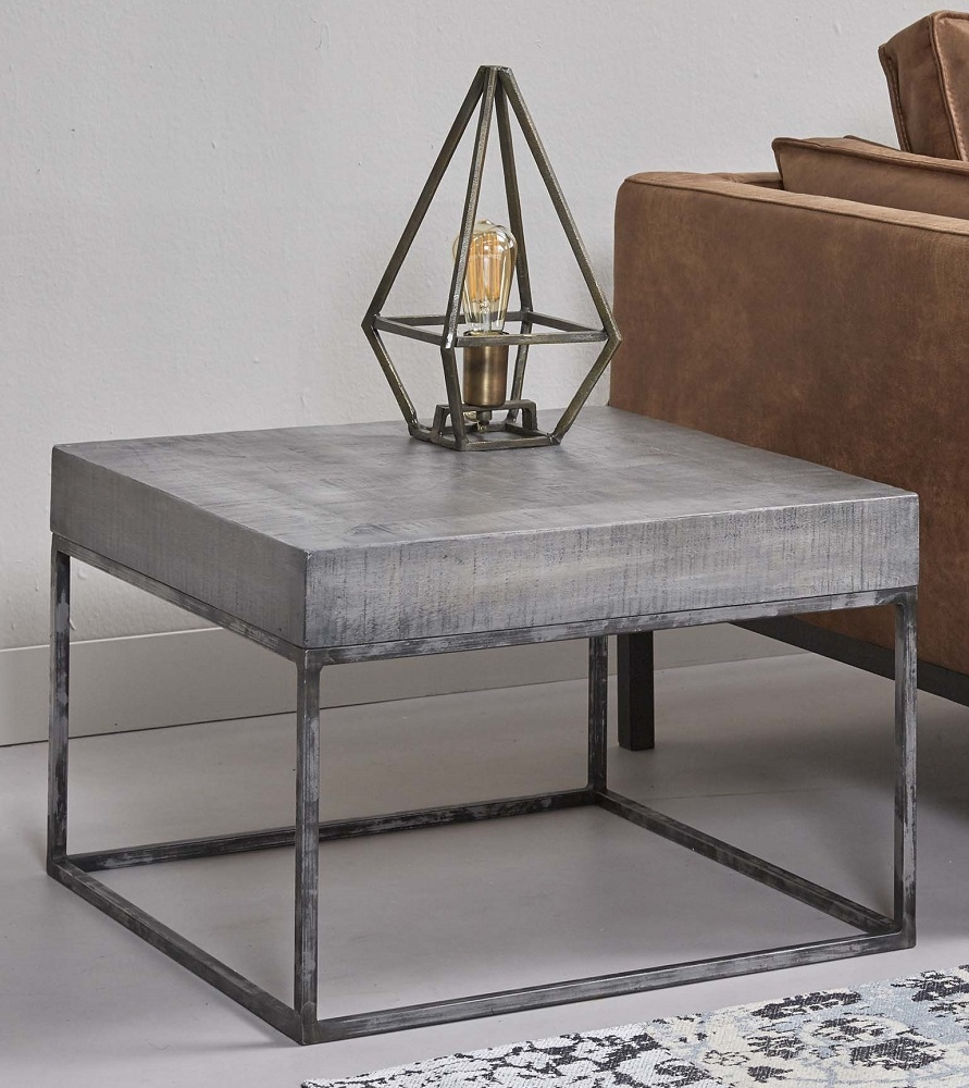 Vierkante salontafel Iwan 60x40x60 cm breed - mango grijs antiek
