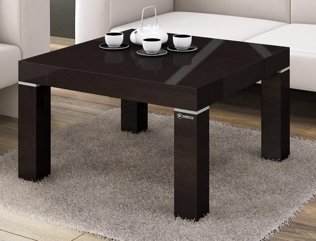 Vierkante Salontafel Monaco 100x48x100 cm breed in hoogglans bruin