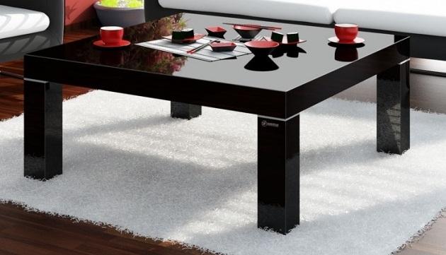 Vierkante Salontafel Monaco 100x48x100 cm breed in hoogglans zwart