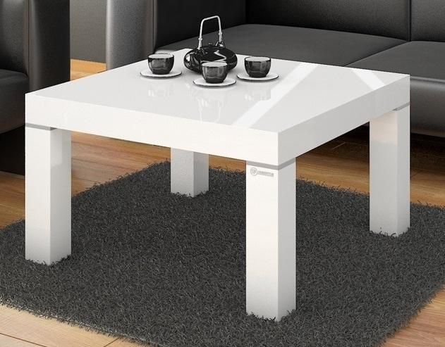 Vierkante Salontafel Monaco 80x48x80 cm breed in hoogglans wit