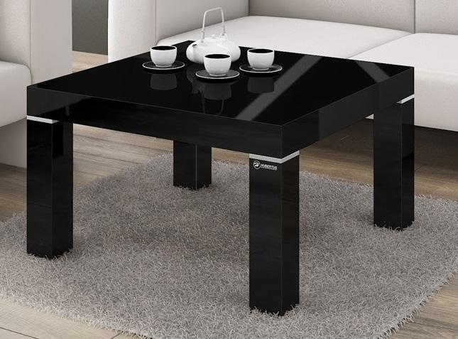 Vierkante Salontafel Monaco 80x48x80 cm breed in hoogglans zwart