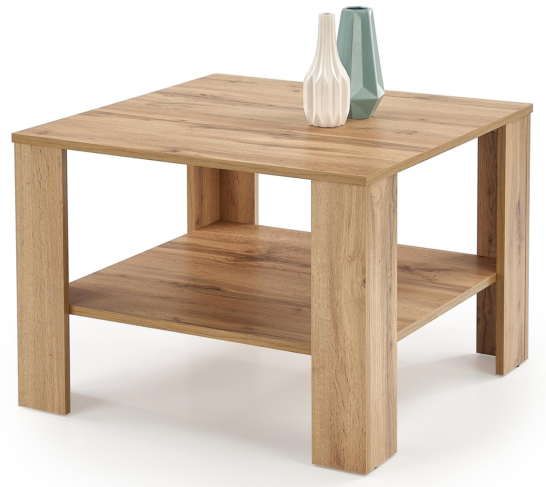 Vierkante salontafel Kwadro 70x53x70 cm breed in votan eiken