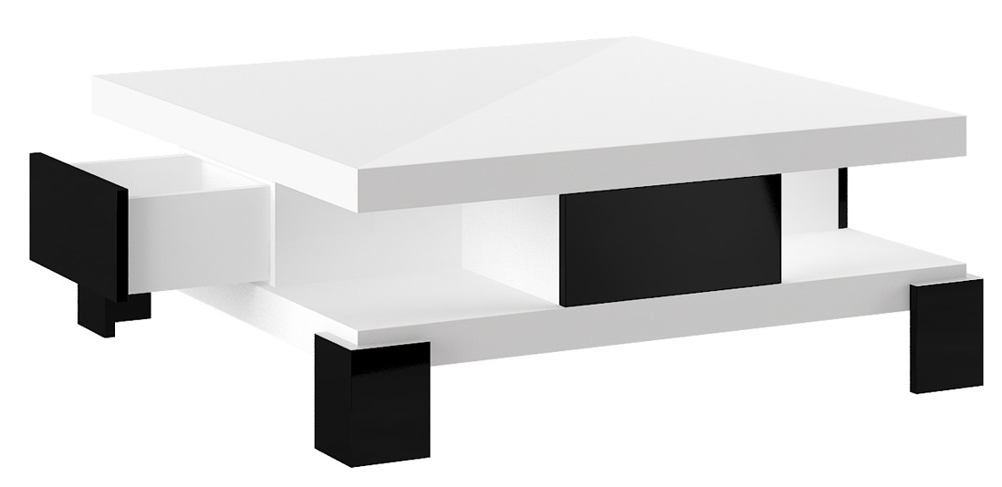 Vierkante Salontafel Selina 104x104cm - Hoogglans wit met zwart