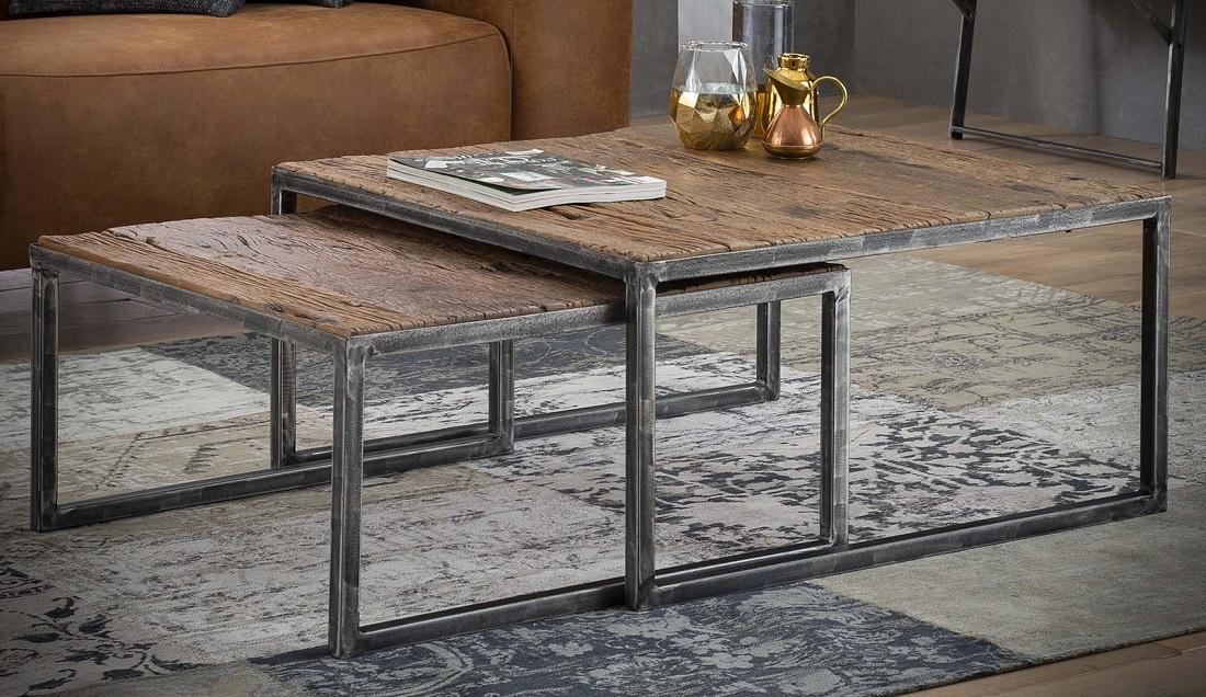 Vierkante salontafel Set Korrel - Robuust hardhout