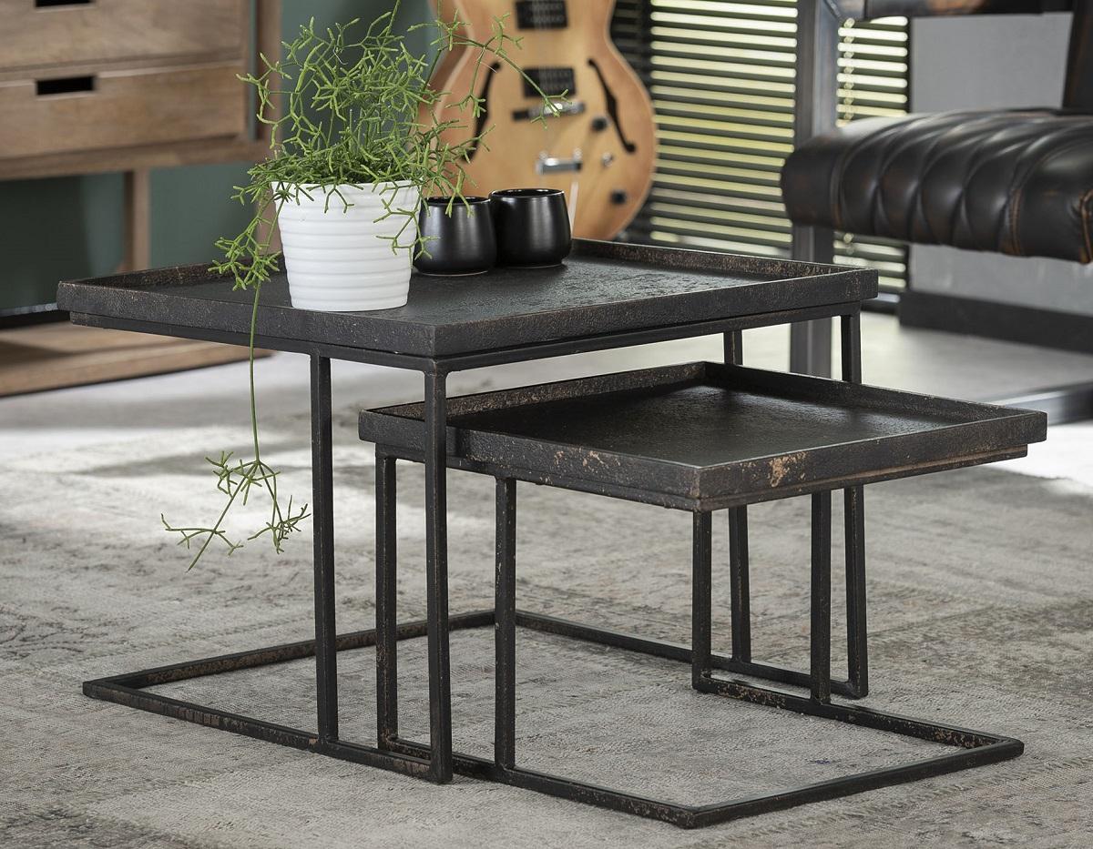 Vierkante salontafel set Metallic in gepoedercoat grijs