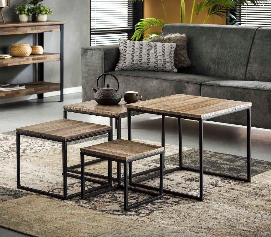 Vierkante salontafel set Teca in Teakhout greywash
