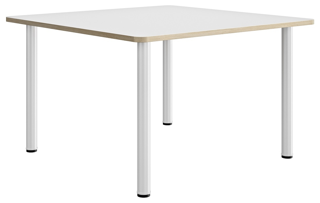 Vierkante tafel Artefact 120 cm breed in wit met eiken