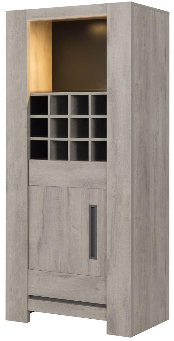 Vitrinekast Boston Small van 181 cm hoog in licht grijs eiken