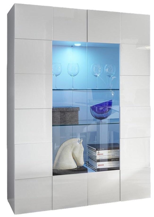 Vitrinekast Dama 166 cm hoog - Hoogglans wit