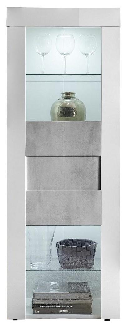 Buffetkast Easy 167 cm hoog hoogglans wit met grijs beton