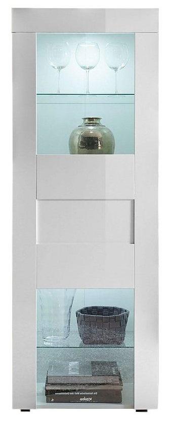 Vitrinekast Easy 167 cm hoog – Hoogglans wit