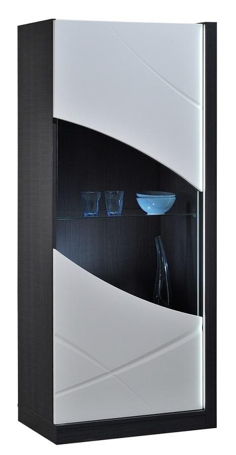 Vitrinekast Elypse 170 cm hoog - Hoogglans Wit met Bruin eiken
