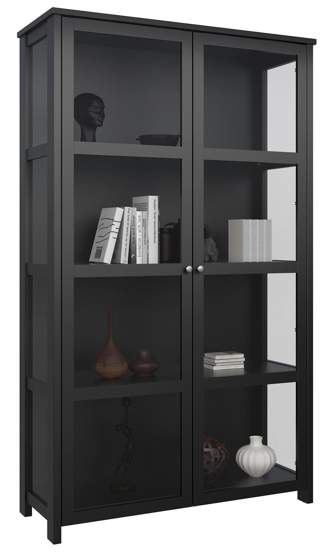 Vitrinekast Excellent 210 cm hoog in zwart
