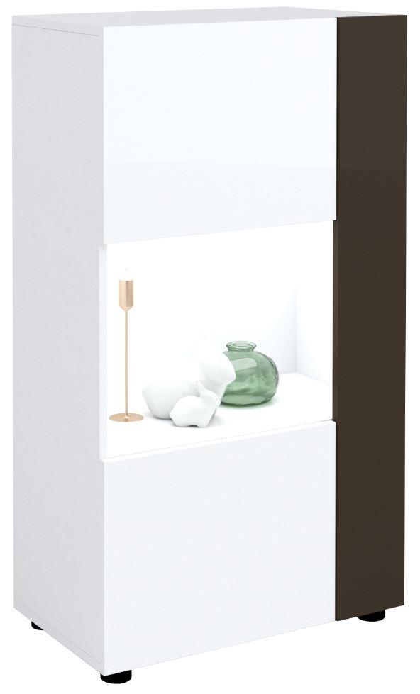 Vitrinekast Karat 125 cm hoog - Hoogglans wit met antraciet