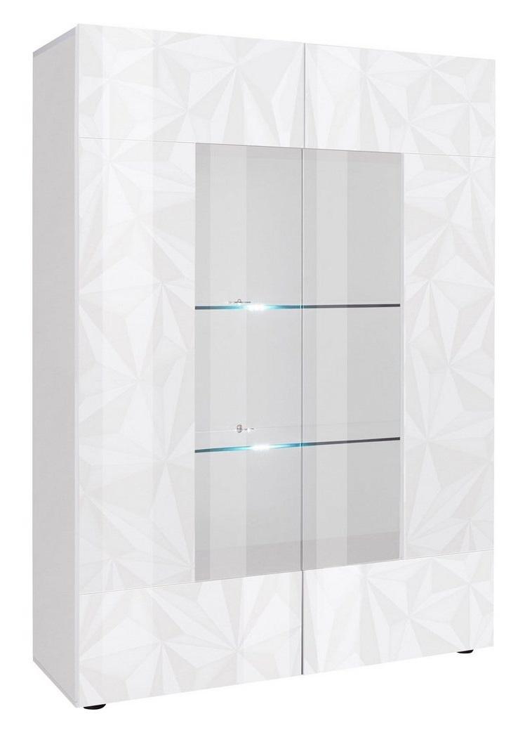 Vitrinekast Kristal 166 cm hoog in hoogglans wit