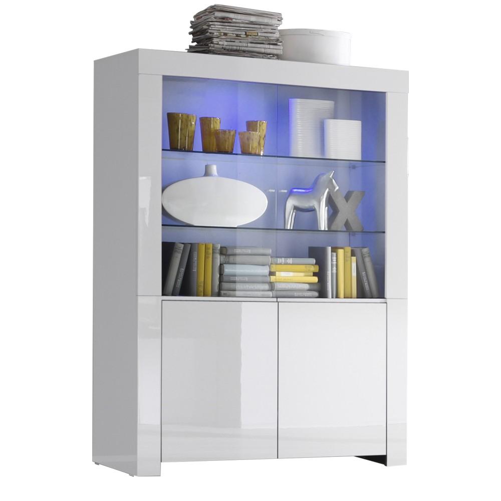 Vitrinekast Malifi 2 Deurs 170 cm hoog - Hoogglans wit