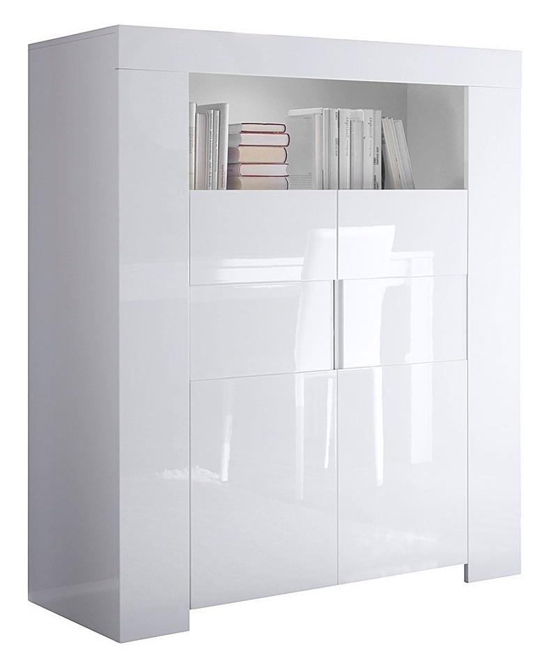 Vitrinekast/Opbergkast Esso 140 cm hoog - Hoogglans wit