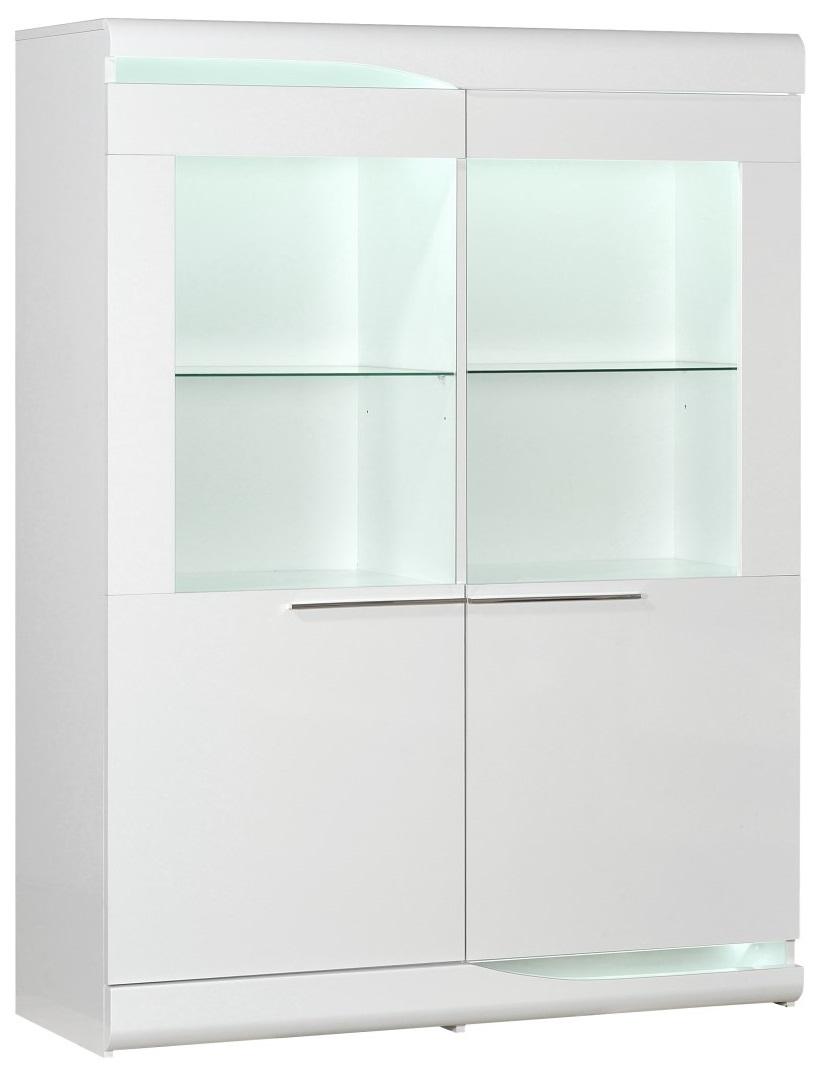 Vitrinekast Ovio 160 cm hoog - Hoogglans wit