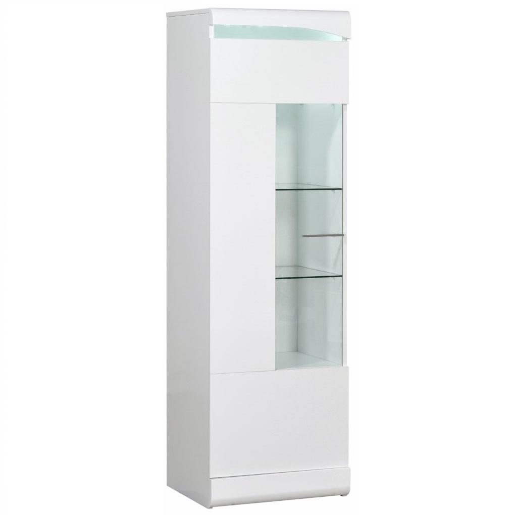 Vitrinekast Ovio 170 cm hoog - Hoogglans wit