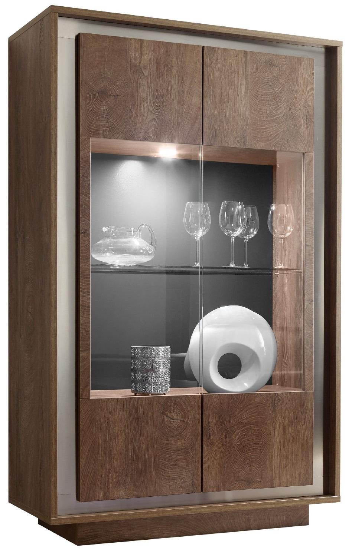 Vitrinekast SKY 171 cm hoog - Cognac bruin