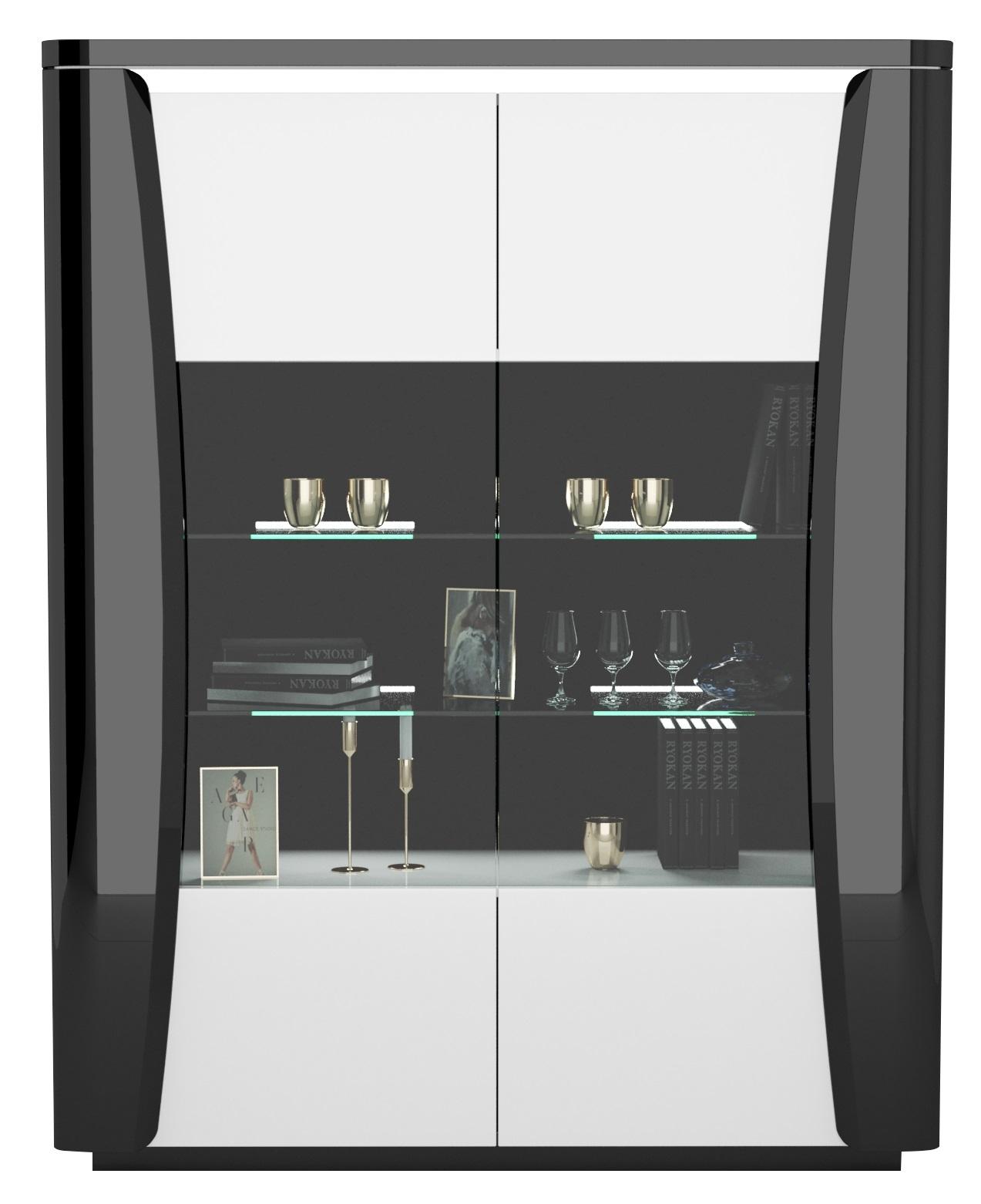 Vitrinekast Tiago 180 cm hoog in hoogglans zwart met wit