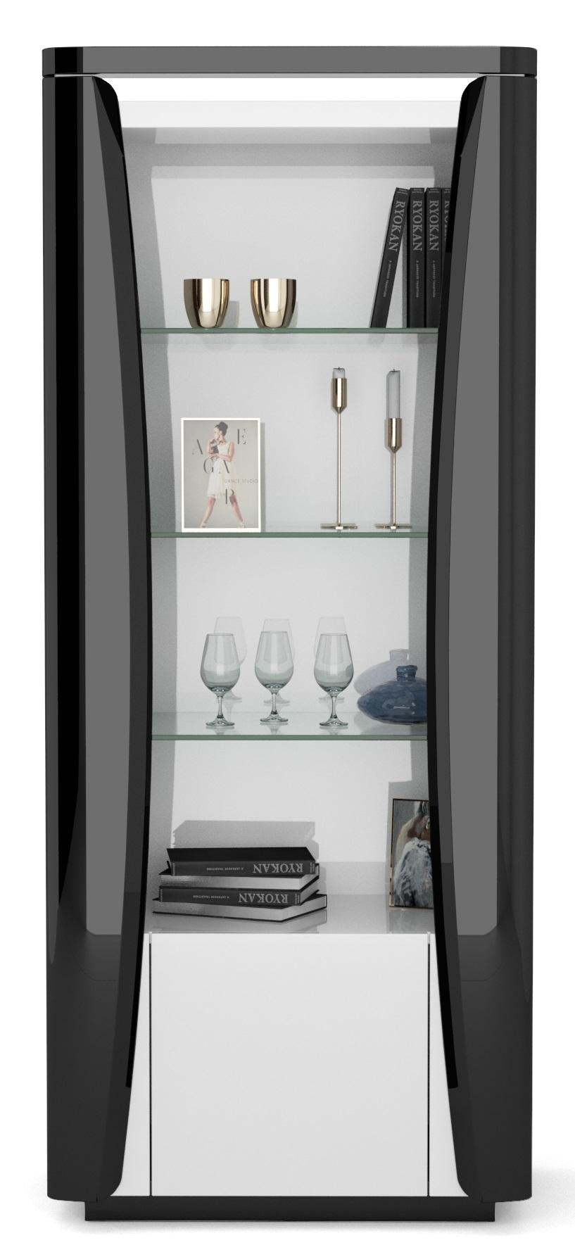 Vitrinekast Tiago small 180 cm hoog in hoogglans zwart met wit