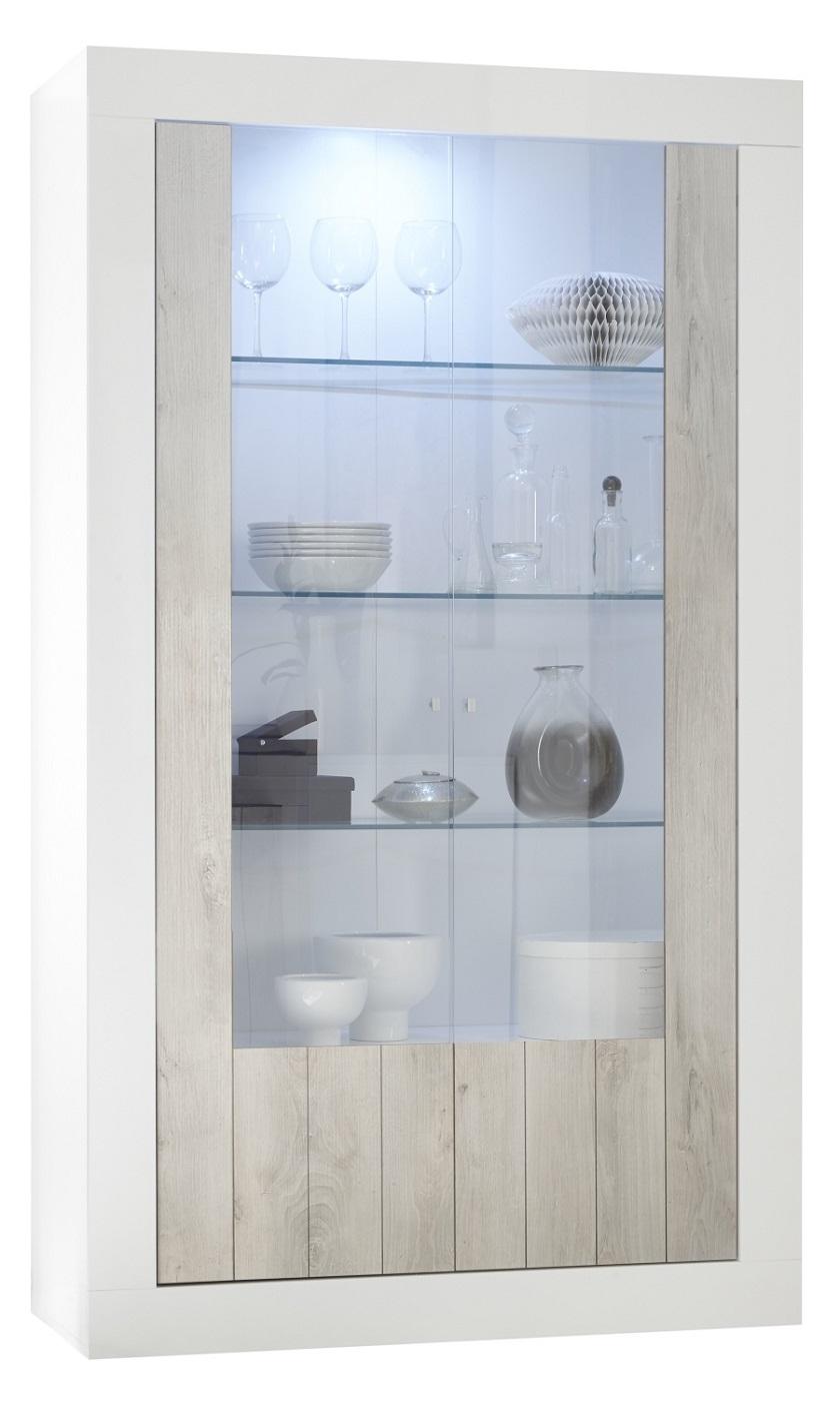 Vitrinekast Urbino 190 cm hoog in hoogglans wit met grenen wit