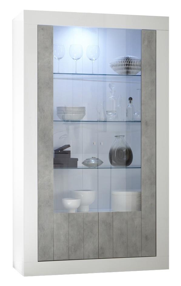 Vitrinekast Urbino 190 cm hoog in hoogglans wit met grijs beton