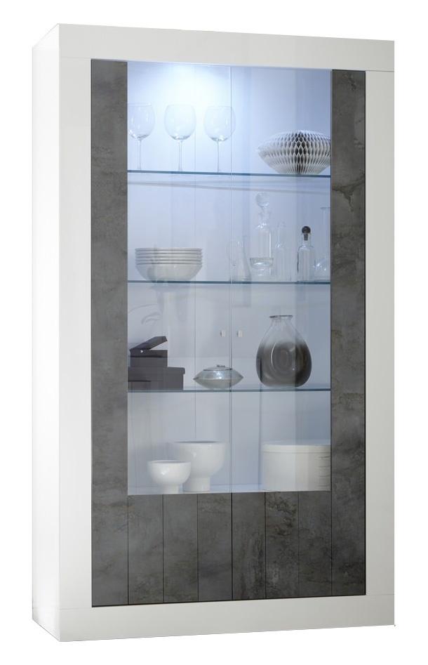 Vitrinekast Urbino 190 cm hoog in hoogglans wit met oxid