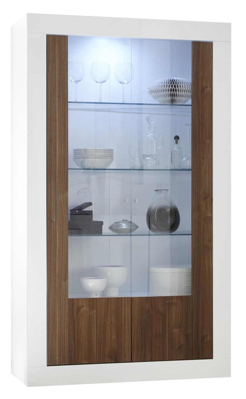 Vitrinekast Urbino 190 cm hoog in hoogglans wit met walnoot