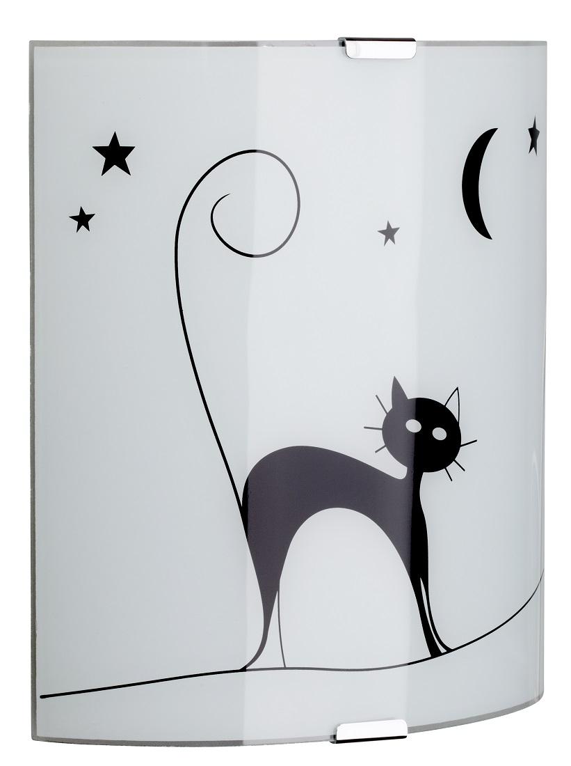 Wandlamp Cat 1xE27 60Watt in wit met zwart