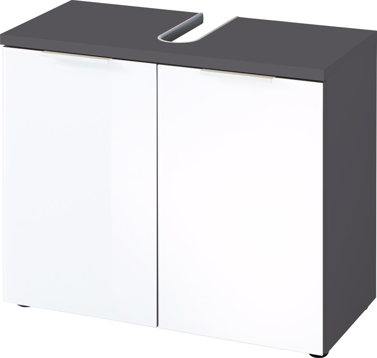 Wastafelonderkast Pescara 58 cm hoog in wit met grafiet
