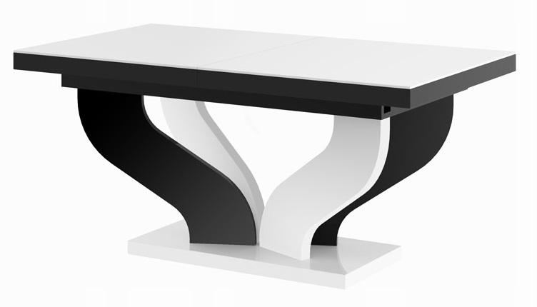 Uitschuifbare eettafel Viva 160 tot 256 cm breed in hoogglans wit met zwart