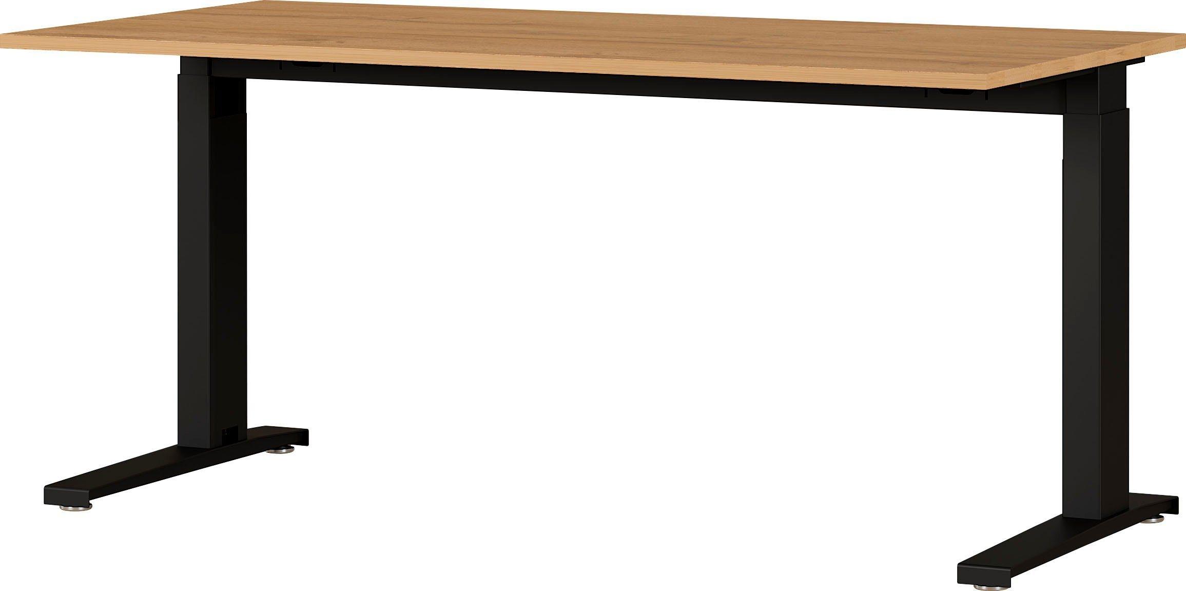 Zit sta bureau Agenda B160xH73-120xD80 cm in grandson eiken met zwart