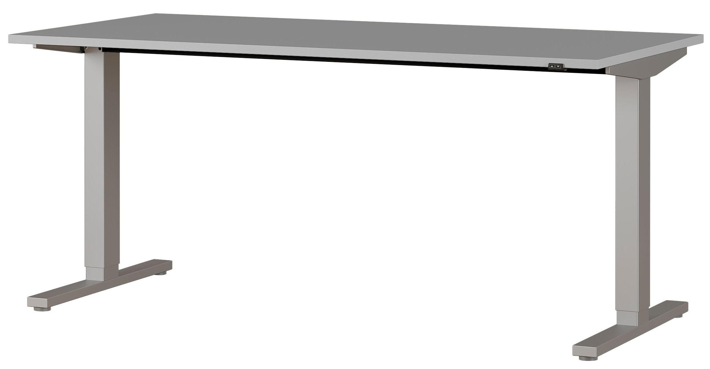 Zit sta bureau Agenda B160xH67-87xD80 cm in lichtgrijs met zilver
