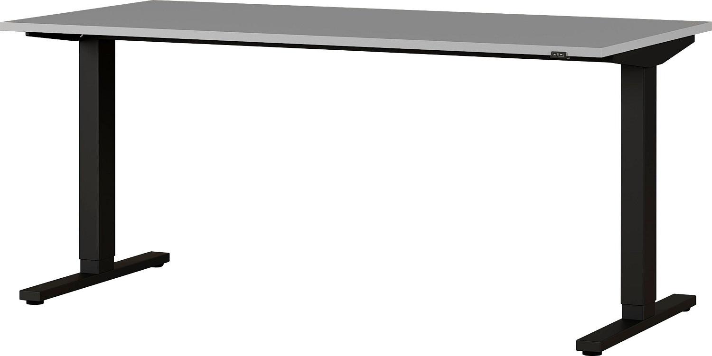 Zit sta bureau Agenda B160xH72-120xD80 cm in lichtgrijs met zwart