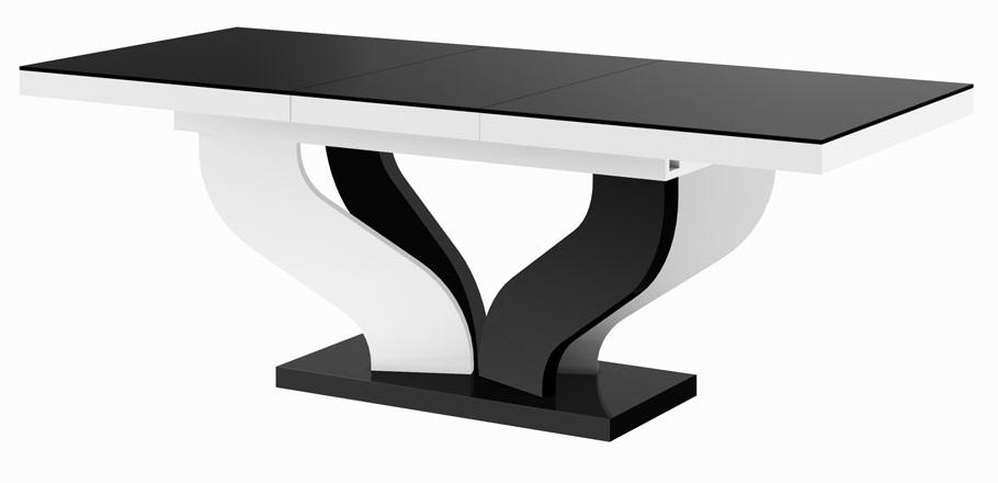 Uitschuifbare eettafel Viva 160 tot 256 cm breed in hoogglans zwart met wit